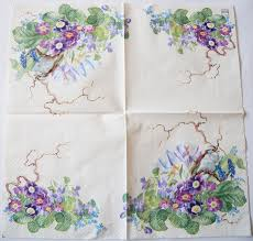 Spring Flower Paper Napkins Decoupage Paper Napkins Of Spring Flowers And Bird