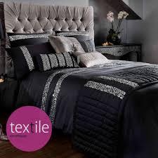 Safia Luxury Black Sequin Embellished Duvet Quilt Cover Bedding ...