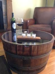reclaimed half wine barrel table with tempered glass top we used some barrels to plant as whiskey barrel end table