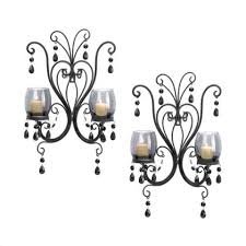 2 black french chic chandelier wall sconce shabby candle holder to enlarge
