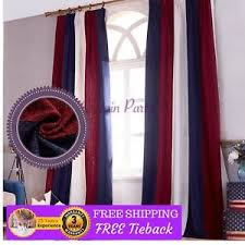 Red White Blue Curtains Bedroom Chenille Design Fabric Drapes Pinch ...