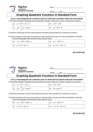 graphing quadratic functions in standard form math worksheet printable pdf