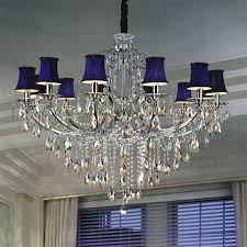 sunwolighting delicate deep blue shade drop shape crystal pendant within chandelier with prepare 14