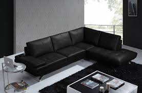 casa knight modern black leather sectional sofa