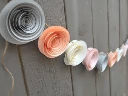 White Paper Flower Garland Paper Flower Garland Peach Cream Gray Pink Wedding Reception