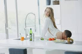 hot couple breakfast sex in kitchen bending her against the shelve.