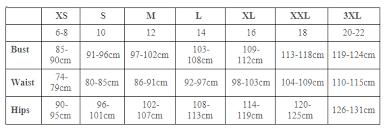 Bamboo Body Size Chart Stylelement