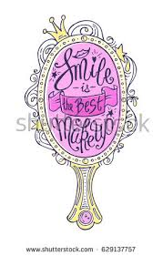 fancy hand mirror drawing. unique lettering with hand drawn girlish mirror frame. \ fancy drawing m