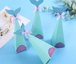 mermaid favor box birthday party decorations diy paper box baby shower boy girl little mermaid candy