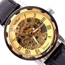 2015 new shipping classic men s black leather golden dial 2015 new shipping classic men s black leather golden dial mechanical sport army luxury accurate wrist watch in mechanical watches from watches on