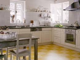 Painted Wood Kitchen Floors Yellow Vinyl Tile Flooring In Modern Small Kitchen Design With L