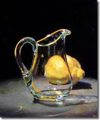 refraction of light glass jug glass pitchers the glass photorealism hyperrealism jeff hayes oil painting