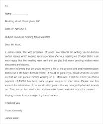 Follow Up Letter Template Stunning After Meeting Email Template Haferco