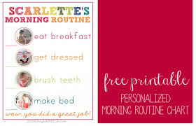 Free Printable Personalized Morning Routine Chart For Young