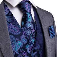 Purple Black Paisley Top Design Wedding Men 100 Silk Waistcoat Vest Ties Hanky Cufflinks Cravat Set For Suit Tuxedo Mjtz 104 In Vests From Mens