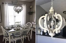 distressed white wood chandelier pendant light