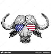 тату бык буффало бык бык рисованной иллюстрации для тату эмблема