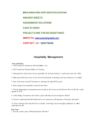 hospitality management mba assignment
