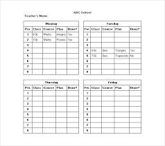 Daily Class Schedule Template Stingerworld Co