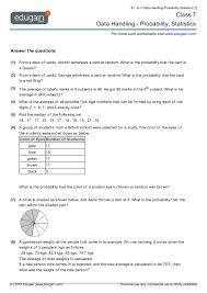 Grade 7 Math Worksheets and Problems: Data Handling - Probability ...Contents: Data Handling - Probability, Statistics