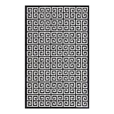 modway freydis greek key 8 x 10 area rug in black and white