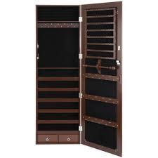 brown jewelry box cabinet lockable