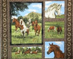 Patchwork Quilting Sewing Cotton Fabric Panel RUN FREE HORSES 90 x ... & Patchwork Quilting Sewing Cotton Fabric Panel RUN FREE HORSES 90 x 110cm NEW Adamdwight.com