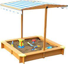 Amazon.com : Merry Garden Sandbox with Canopy, Natural Stain : Garden &  Outdoor