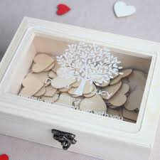personalized wedding guest book wooden keepsake box with tree custom wooden heart guestbook for signature rustic wedding decor signature guest books