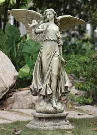 angel on pedestal garden statue 46 5 gar1013