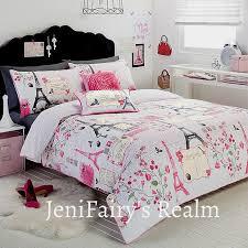 excellent paris chic eiffel tower white pink grey single quilt doona cover ek06