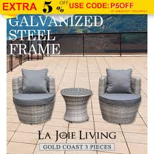 Details about gold coast rattan 3 piece outdoor furniture set garden patio pool table chair
