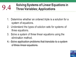 solving systems of linear equations in three variables s