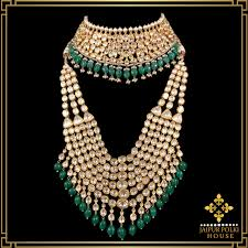 Polki Pendant Set Designs Jaipur Polki House Jadau Gold Uncut Diamond Polki Jewellery
