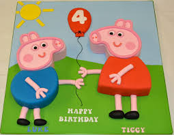 Peppa Pig And George Pig 2d Shaped Cake Childrens Birthday Cakes