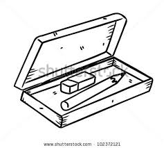 eraser clipart black and white. pencil and eraser with box in doodle style clipart black white