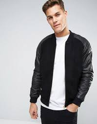 asos suede er jacket with leather sleeves in black