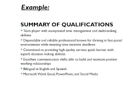 Sample Of Qualifications In Resumes Key Skill For Resume Sample Resume With Qualifications Resume