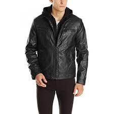 kenneth cole reaction mens marble faux leather moto jacket with hood black intl