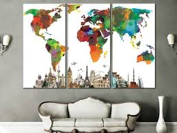 New 3 PcsSet Abstract Navy Blue World Map Canvas Painting Modern Art For Home Decor
