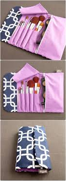 diy makeup brush holder travel. all-in-one brush roll \u0026 makeup bag - navy with purple diy holder travel