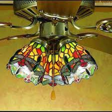 dragonfly tiffany stained glass ceiling fan light