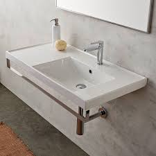 bathroom sink scarabeo 3009 tb rectangular wall mounted ceramic sink with polished chrome