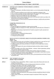 Gardener Resume Samples Velvet Jobs Horticulture Manager S Sevte