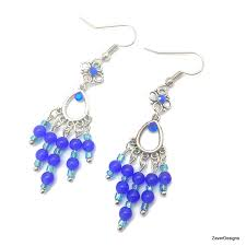blue chandelier earrings blue earrings royal blue earrings