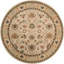 super 9 round rug hand tufted traditional camden vanilla fl border wool