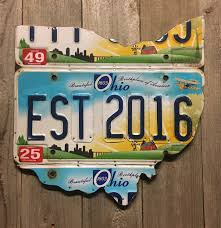 rustic apple art on license plate map wall art with 2 year anniversary gift ohio license plate map established 2016