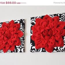 mothers day wall hanging set red dahlia flowers on black and white damask print