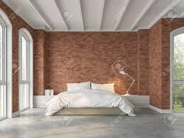 Concrete Floor Bedroom Design Modern Loft Bedroom 3d Render There Are Polished Concrete Floors