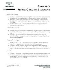 Sample Resume Objective For Accounting Position Best of Resume Objectives For Accounting Jobs In A With Example Objective